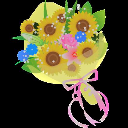 ヒマワリ 花束 イラスト