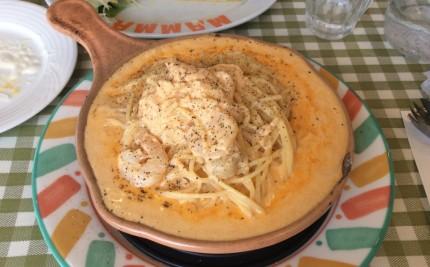 ぷりぷり海老とホタテのクリームチーズチーズトマト
